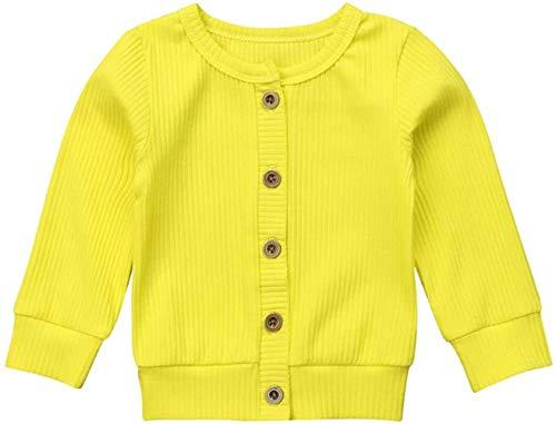 Bravoy kindje meid jongen trui met knopen Sweater Soft Basic Knit Jacket Snap Cardigan jas kleding (geel, 70)