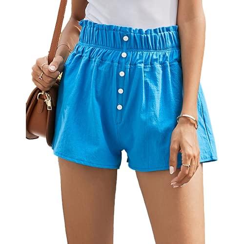 Pantalones Cortos para Mujer Primavera y Verano Color Caramelo Simple Moda Estiramiento de la Cintura Pantalones Cortos Casuales Pantalones Cortos Salvajes al Aire Libre S