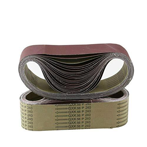 Paquete de 10 bandas de lijado de 533 * 75 mm, lijadoras de lijadora de óxido de aluminio de grano 40-1000, 3 '' * 21 ''para pulidora de cinta de arena, P600