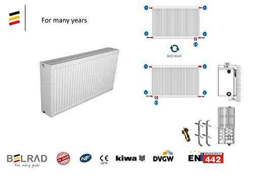 Belrad Type 33 900x600 mm universele radiator compact & radiator houder & ventiel - 6 aansluiting