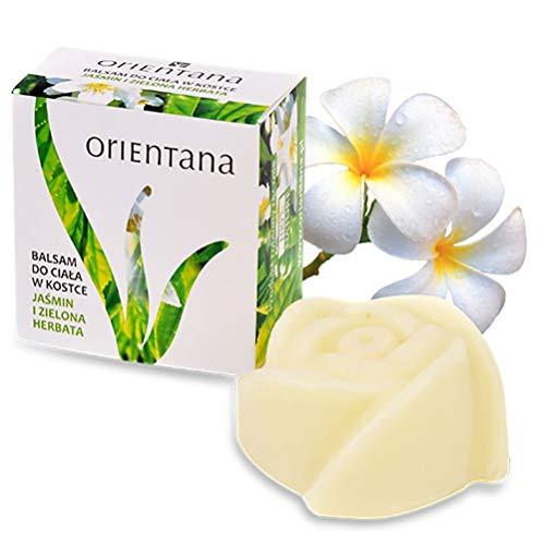 Orientana - Festes Massageöl JASMIN und GRÜNER TEE - 100% Natürliche und Vegane - keine kosmetischen Abfälle - reich an Pflanzenbutter und Öle - schöner Jasminduft, 60 g