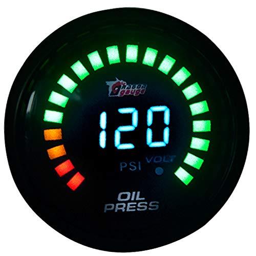 Fotingstarcase DRAGON GAUGE/Tacómetro/tensión/combustible 2'52 mm hacia arriba/agua/aceite/aceite/la EGT/metro manómetro digital (Color : Oil Press)