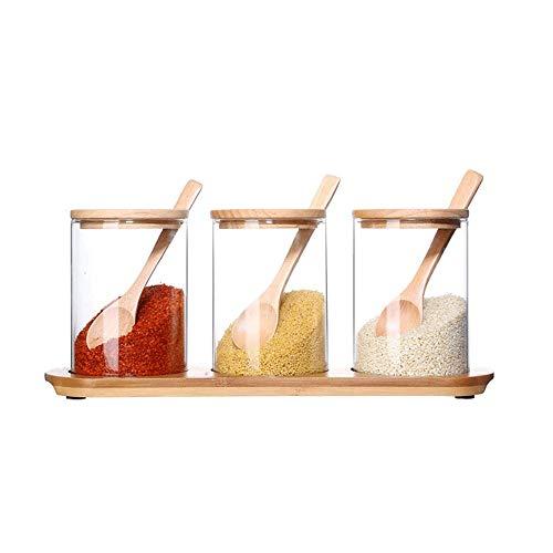 Botes para Especias novedosos Cocina caja de cristal, la cocina for guardar especias Organización de contenedores de cristal del condimento caja, caja de almacenaje de bambú del hogar Combinación 3 Se