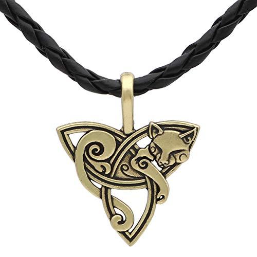 DFWY Triquetra Cat Pendant Viking Leather Necklace,Nordic Myth Celtic Trinity Knot Charm Amulet,Vintage Animal Fashion Irish Jewelry (Color : Bronze)