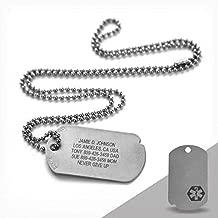 Road ID Custom Military Dog Tag - The Fixx ID - Emergency Medical Alert Dog Tag ID