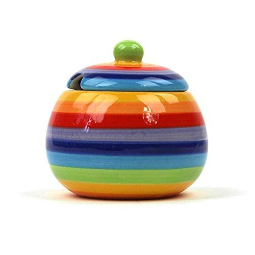 Windhorse Rainbow Striped Sugar Pot, Rainbow Design Sugar Bowl, Ceramic...
