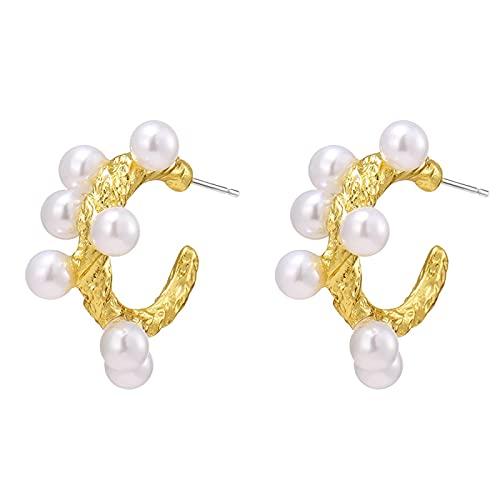 FEARRIN Pendientes Vintage Rhinestone Stud Geometry Pearl Stud Pendientes para Mujer Pendiente Ear Stud Joyería Regalo de Boda H179-KM756