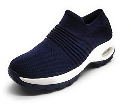 Zapatillas Deportivas Mujer Calcetin Elasticas sin Cordones Muy Comodas Transpirable Antideslizante para Correr Andar Trabajar Navy 38
