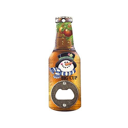 Abrebotellas Abrelatas Creativo Navidad Abridor de botellas de madera Impresión navideña Abridor de botellas de cerveza Refrigerador Pegatinas magnéticas (muñeco de nieve)