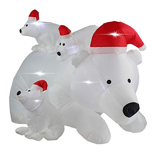 AsterOutdoor 8ft Inflatable Christmas Outdoor Claus on Sleigh with Two Blow Up Built-in LED Indoor Yard Decor Lighted for Holiday Season, Quick Air Blown, 8 Foot Long, Santa w/Reindeer