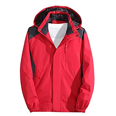 SOMESHINE Rain Jackets Men's Waterproof Lightweight Raincoat Detachable Hooded Outdoor Hiking Jacket Windbreaker Trench Coat Red