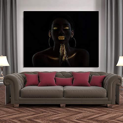 Santangtang olieverfschilderijaffiche en -druk van de betende vrouw van de Afrikaanse zwarte make-up op canvas kunst-portretbeeldwoonkamer frameloos
