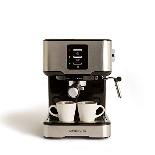 IKOHS Create Cafetera Express THERA Easy - Cafetera Automática Espress para Espresso y Cappuccino, 20 Bares, 850 W, 1,5 litros, Vaporizador Orientable, Doble Salida, Regulador de Presión (Gris)