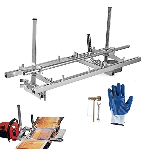 PRIBCHO Portable Chainsaw Mill Planking Milling Guide Bar Saw Mill 14 to 48 Inches Aluminum Steel Wood Lumber Cutting Portable Sawmill for Woodworkers
