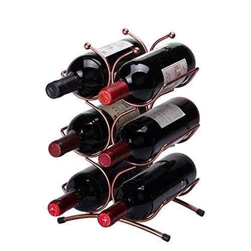 Casier à Vin 6 Bouteilles de Stockage Libre de vin de comptoir en métal Debout comptoir Debout pour Cellier de Cuisine (Couleur : Bronze, Size : 6 Bottles)