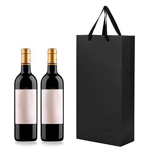 Geschenktaschen 10er Packung Flaschentüten Kraftpapier Weintasche für 2 Flaschen Tragbare Flaschentasche Wein Sekt Champagner Geschenktüten Weinbeutel mit Gurtbändern für Einladung Weihnachten