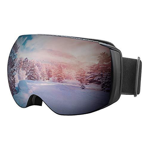 GGBuy Ski Snowboard Goggles, Magnetisch slot Verwisselbare Lens Frameless Sphercal Design OTG Dual Layers Anti-Fog UV400 Bescherming Sneeuwbril