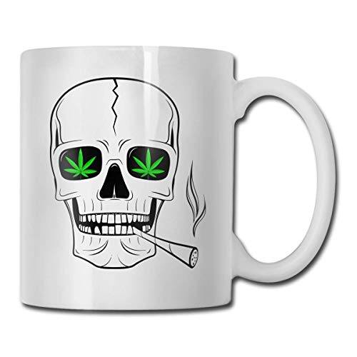 Ceramic Cups,Cannabis Weeds Pirate Flag Bone Ceramic Mug Luxurious Generous Delicate Ceramic Cup for Male Son Travel 11 Ounces