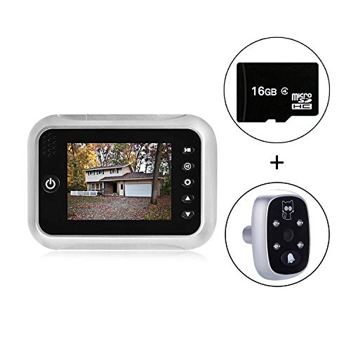3.5' TFT LCD Screen Digital Doorbell Security Camera Door Peephole Viewer Door Camera Night Vision Wide Angle + Video Record+ Photo Shooting + Do Not Disturb(dnd) Function (With 1 free 16GB SD Card)