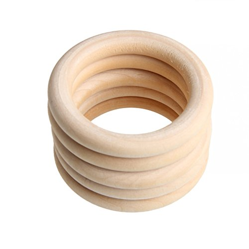 Senoow 5pcs 70mm Baby Wooden Teething Rings Necklace Bracelet DIY Crafts Natural New