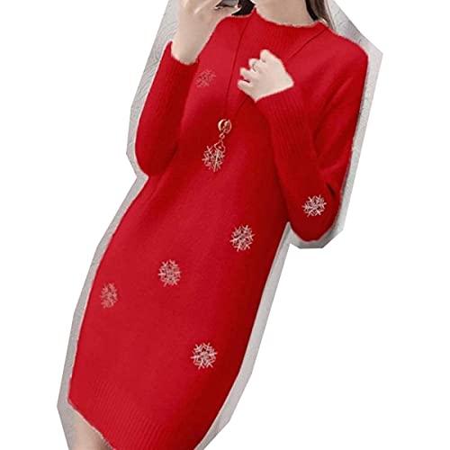 CharlieRGill Suéter de punto para mujer con nueva Lmitation visón cachemir blanco vestido de invierno medio cuello alto suéter Jumper-White_M