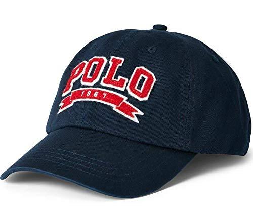 Ralph Lauren Mens Polo Sports Pony Logo Hat Cap (One Size, Navy Aviatr red)