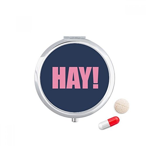 DIYthinker Hay Quote Zwart Aanmoedigen Positieve Hallo Reizen Pocket Pill Case Medicine Drug Opbergdoos Dispenser Spiegel Gift