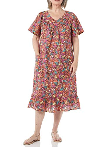 AmeriMark Women's Casual Print Sun Dress - House Dress with Front Patch Pockets Multi Mix XL