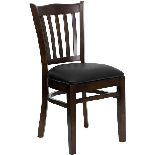 Hercules Series Walnut Finished Vertical Slat Back Wooden Restaurant Chair Black Vinyl Seat