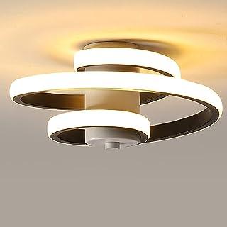 Plafonnier LED Moderne, 18W Plafonnier Design Créatif en Forme de Spirale, Luminaire Plafonnier Noir Metal, Lampe de Plafo...