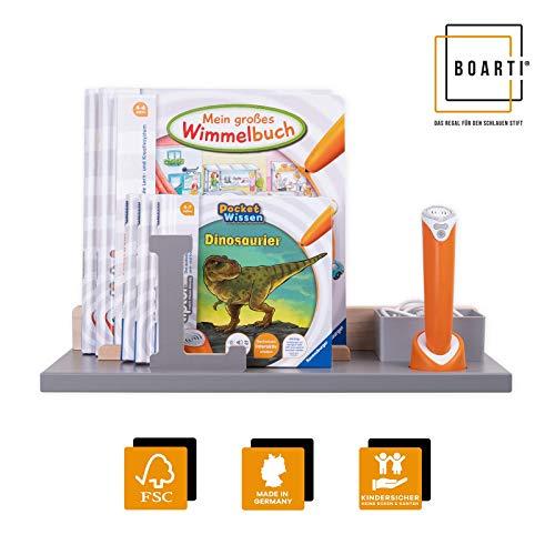 BOARTI Wandregal in Grau mit Buchstabe L in Grau - geeignet für den tiptoi Stift und ca. 10 Bücher - zum Spielen, Lernen, Sammeln und Aufbewahren