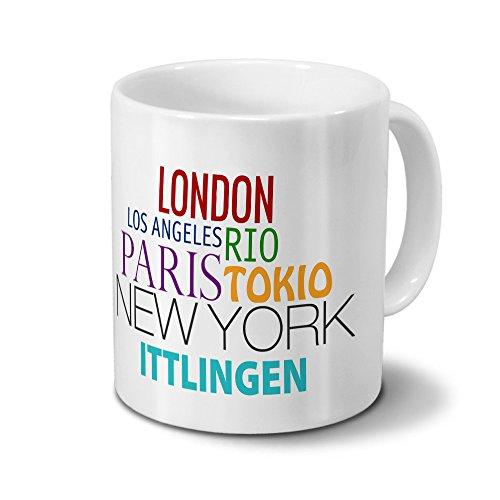 Städtetasse Ittlingen - Design Famous Cities of the World - Stadt-Tasse, Kaffeebecher, City-Mug, Becher, Kaffeetasse - Farbe Weiß