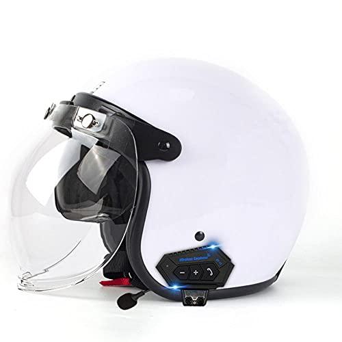 Casco de Moto Abierto Negro Mate con Doble Visera ECER 22-05 Homologado con ala Desmontable y Gafas de Burbuja Ligero y Duradero para Mujer Hombre 61-62CM
