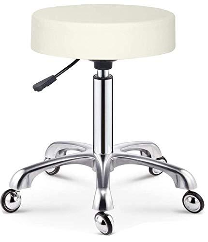 Cris nails - taburete giratorio con ruedas esféricas, taburete rodante regulable para trabajo, estudio, oficina, clínica (Blanco)