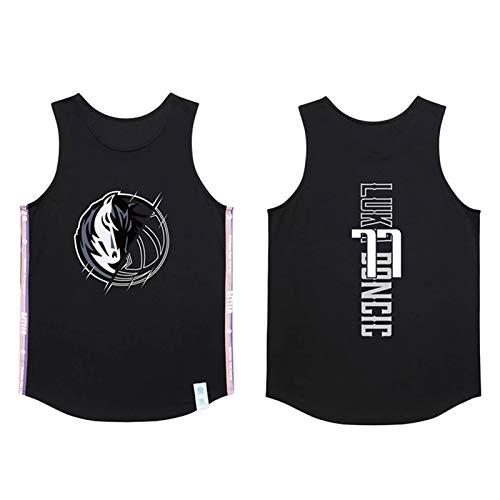 Dallas Mavericks 77# Luka Doncic Jersey, Chaleco deportivo de entrenamiento retro para jóvenes, camiseta de baloncesto bordada transpirable (M-5XL) negro-XXXL
