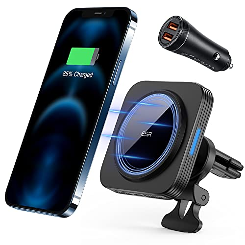 ESR HaloLock Cargador Inalámbrico Magnético para Coche, Compatible Carga Rápida MagSafe, Soporte Rejilla de Aire Compatible con iPhone 12/12 Pro/12 mini/12 Pro MAX, con Adaptador Coche QC 3.0 36 W