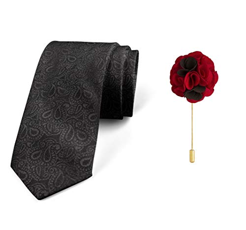Axlon Men's Micro Polyester Paisley Necktie Set with Pocket Square and Brooch Pin (Black, Free Size)