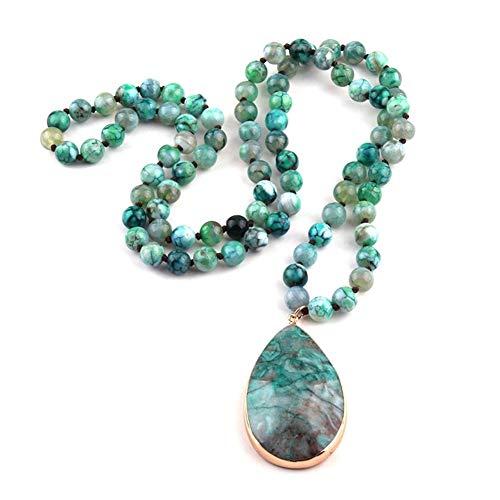 QWERBAM Moda Semi Preciosas Piedras Agat Largo Anudado Piedra Natural Colgante Collares Mujeres Collar étnico (Color : 86cm, Size : Blue)