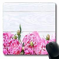 マウスパッドバレンタインブーケ木製の自然のピンクの牡丹テーブル牡丹長方形の形状7.9 X 9.5インチ長方形ゲームマウスパッド滑り止めラバーマット