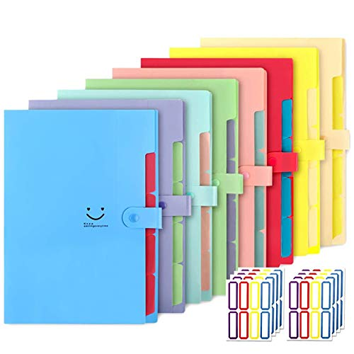 EOOUT 8pcs Expanding File Folders, 5 Pockets with Snap Closure, Plastic Accordion Document Organizer with 64pcs Labels, A4, Letter Size, for School and Office Supplies