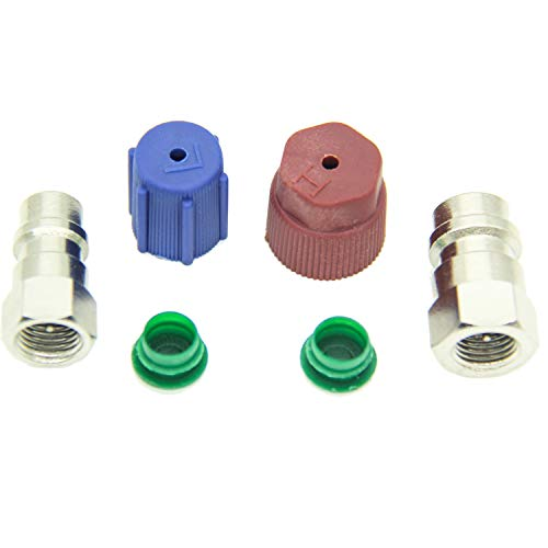 QDJUNE R12 to R134A AC Retrofit Fitting Adapter Kit, R12 to R134a Conversion Kit, R12 R22 to R134A High/Low Fitting Port Retrofit 1/4In to 7/16In Conversion Adapter, Fits for Ac Valve Core Kit