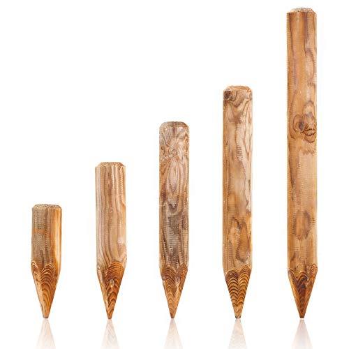 BooGardi Runde Baumpfähle Holzpalisaden · 39 Größen · ø 8cm, Länge: 100cm · Palisaden Holz als Beeteinfassung, Beetumrandung und Rasenkante