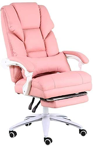 WYL Chair Executive Chair 170° Tilt Office Chair with 70 cm High Back Large Seat with Footrest Ergonomic Executive Chair Bearing Weight 150kg Suitable for Home Office (Color : Pink)