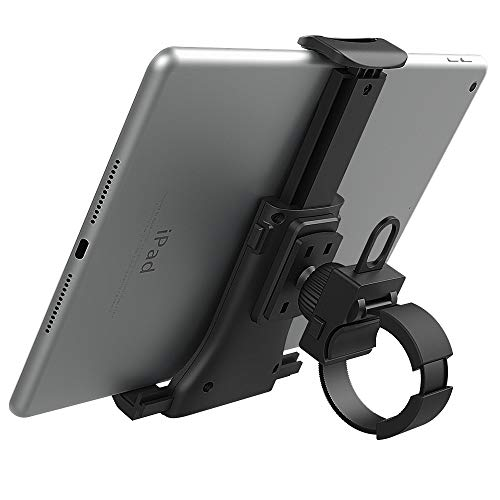MoKo Bike Tablet Mount Holder, Universal Bicycle Car Handlebar Mount for 4'-11' Phones Tablets on Indoor Cycling Stationary Exercise, Spinning Bike, Fits with iPhone, iPad Pro, Air 4 3, Mini 5 - Black