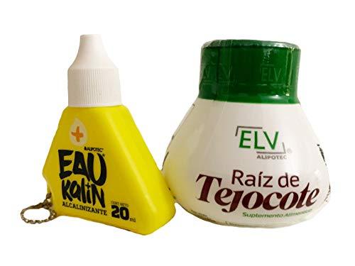 Elv Raiz de Tejocote Root Original Weight Loss Supplement from ELV, with Eau Kalin Alkaline Water Drops Combination 2 Pack