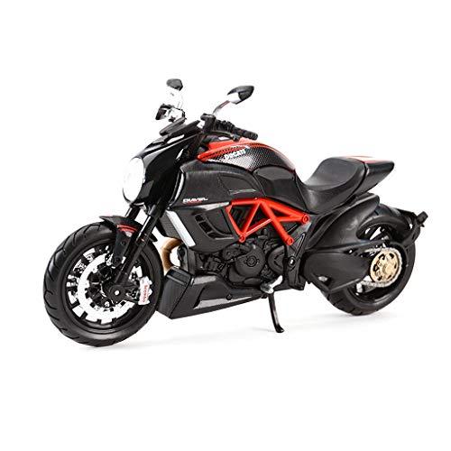 hclshops 1:12 Big Devil Diavel Negro Locomotora Diecast clásico Modelo de Moto Modelo de Juguete de Motocicleta Modelo de simulación Vehículo