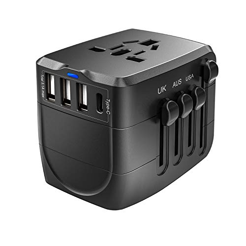 Reiseadapter, Reisestecker Typ-C, 2400W Stromadapter Hochleistungsgeäte, Weltweit Reiseadapter für USA/EU/UK/Japan/Kanada/Thailand Australien,200 Länder Internationale Ladegeräte, 3USB +Type-C