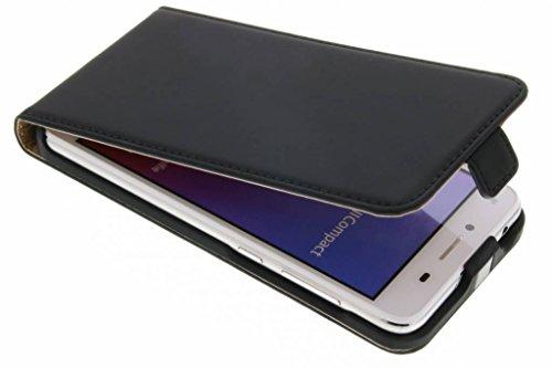 Selencia kompatibel mit Huawei Y5 2,Huawei Y6 2 Compact Hülle – Premium Flip Cover Handytasche – Kunstleder Handyhülle mit Kartenfach & Magnetverschluss, Klappetui in Schwarz Matt