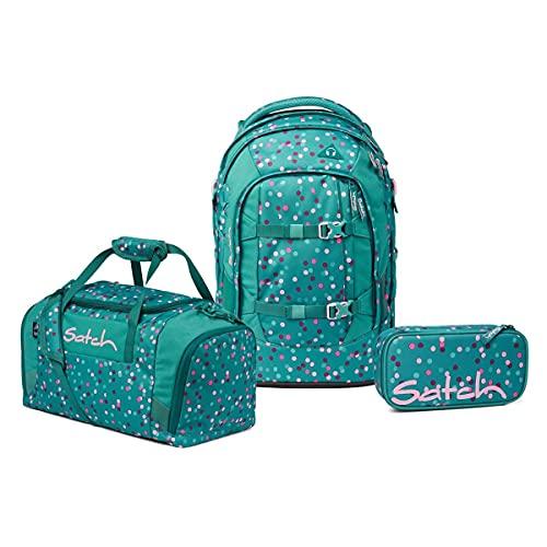 Satch Pack Schulrucksack Set 3tlg. inkl. Schlamperbox und Sporttasche (Happy Confetti)