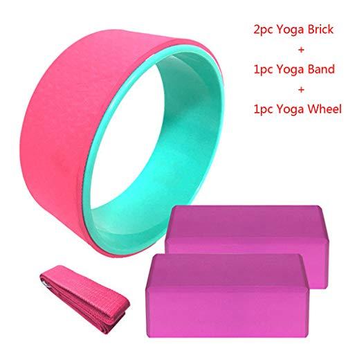 PPangUDing 4 Stücke Fitness Training Yoga Massage Roller Yoga Trage Mit Yoga Brick Anzug für Kinder und Erwachsene, Anfänger und Fortgeschrittene (Rosa)